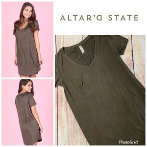 Altar'd State Suede-like Oversized T-shirt Dress
